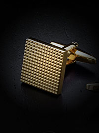 TEXTURED GRID PATTERN, GOLD PLATED CUFFLINKS