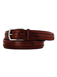 Cognac Double Calf Belt by Johnston & Murphy