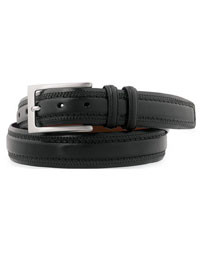 Black Double-Pinked Belt by Johnston & Murphy