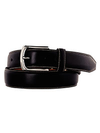 Black Topstitched Belt by Johnston & Murphy
