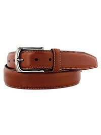 Saddle Tan Topstitched Belt by Johnston & Murphy