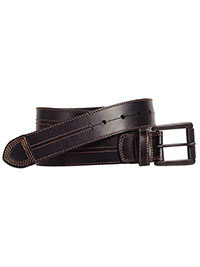 Black Double Center-Stitched Belt by Johnston & Murphy