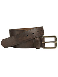 Brown Burnished Roller Buckle Belt by Johnston & Murphy