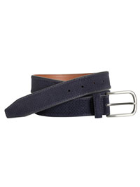 Navy Suede Perfed Belt by Johnston & Murphy