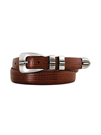BROWN                          Cognac Lizard-Grain Belt by Johnston & Murphy