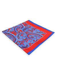 RED                            Paisley Twill Silk Pocket Square