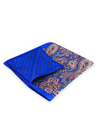 ROYAL 100% Silk Printed Twill Reversible Pocket Square