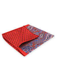 RED 100% Silk Printed Twill Reversible Pocket Square