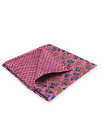 PINK 100% Silk Printed Twill Reversible Pocket Square