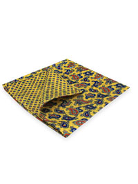 YELLOW 100% Silk Printed Twill Reversible Pocket Square