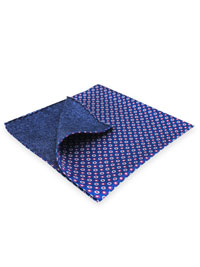 NAVY 100% Silk Printed Twill Reversible Pocket Square