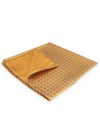 GOLD 100% Silk Printed Twill Reversible Pocket Square