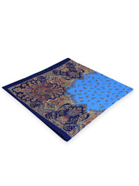 BLUE 100% Linen Printed Pocket Square