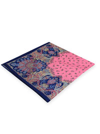 PINK 100% Linen Printed Pocket Square