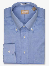 BLUE Pinpoint Button Down Collar