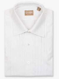 WHITE 5 Pleat Formal Dress Shirt Big Size