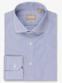 NAVY Mini Gingham Check Tailored Fit Dress Shirt with Wide Spread Collar