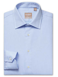 BLUE Solid Royal Twill Dress Shirt with Medium Spread Collar