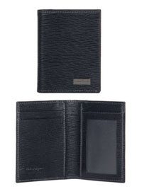 BLACK Ferragamo Embossed Calfskin Card Case