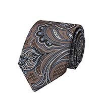 Tie-Brown Woven Paisley