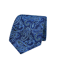 Tie-Blue Woven Paisley