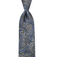 Tie-Silver Woven Paisley