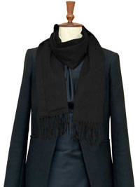 BLACK Luxury Pure Cashmere Scarf- Regular