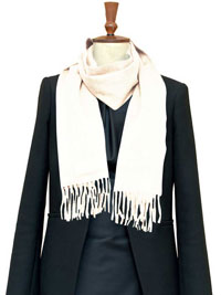 WHITE Luxury Pure Cashmere Scarf- Regular