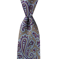 Neckwear-100% Silk - Tan