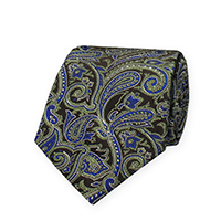 Tie-Olive Woven Paisley